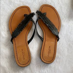 be94e95eb63516 ⬇  80 NWOB COACH black feather studded sandals
